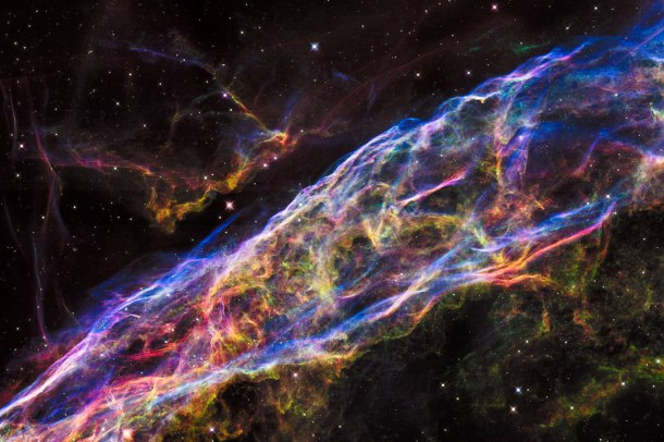 This image shows a small section of the Veil Nebula, as it was observed by the NASA/ESA Hubble Space Telescope. This section of the outer shell of the famous supernova remnant is in a region known as NGC 6960 or — more colloquially — the Witch's Broom Nebula.